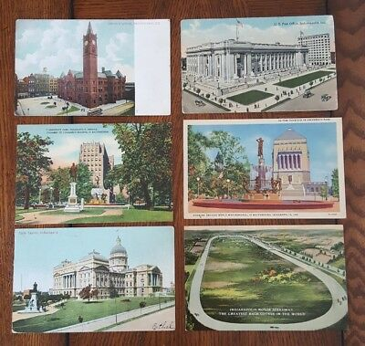 Lot Of 6 Vintage Postcards Indianapolis Union Station, Post Office, IMS,Capitol