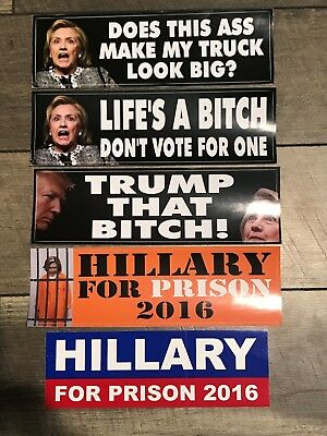 Lot Collection of 5 Anti HIllary Clinton For Prison Trump Bumper Stickers
