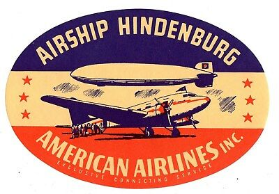 American Airlines Airship Hindenburg Baggage Label Stickers 1930's