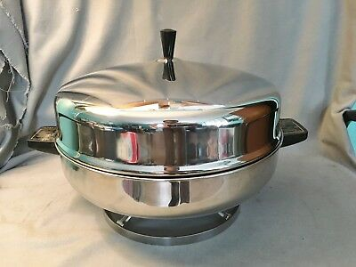 "Vtg Farberware 335A Electric 12"" Stainless Steel Fry Pan Skillet Round Buffet"