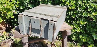 Nice Old pale grey Industrial Box with rope handles