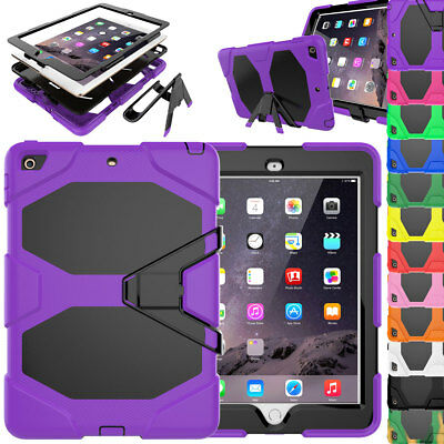 For iPad 9.7 2018 6th Gen Tough Screen Protector Hybrid Silicone Kids Case Cover