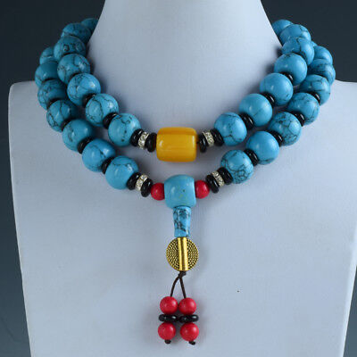 Natural Turquoise & Beeswax Handwork Decoration Necklaces RX040+b