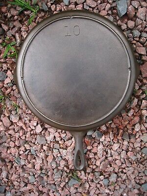 Fully Restored Vintage # 10 Lodge Unmarked Cast Iron skillet With Heat Ring
