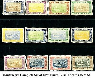 Montenegro 1896 Bicentenary Issues Complete Set of 12 MH Scott's 45 to 56   (s5)