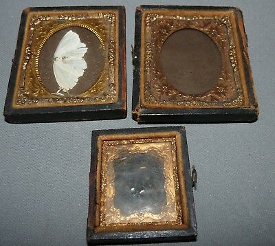 Antique Tin Type Picture Frames Lot of 3 Butterfly