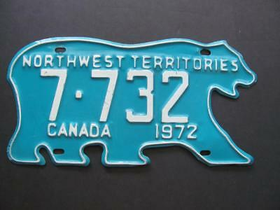 Vintage 1972 Northwest Territories CANADA Polar Bear License Plate #7-732