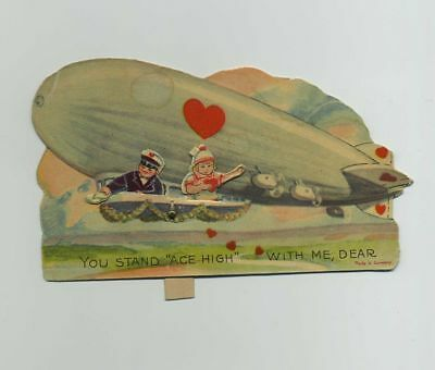 Vintage Die Cut Mechanical Valentine Greeting Card Airship Dirigible bv9056
