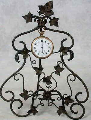 Antique Pocket Watch Metal Holder Stand Scrollwork Ivy Entwined Leaves 3 Hangers