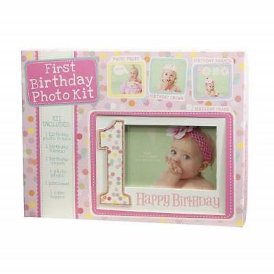 Baby's First Birthday Photo Kit Baby Picture Frame w/Photo Props, Pink