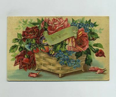 1908 Best Wishes Embossed Postcard Greeting Tebbetts MO Missouri Cancel bv7979