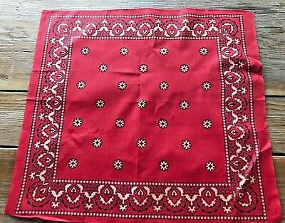 Vintage A+ UNUSED Elephant Trunk Down Red Star Bandana 19X21 Cotton Fast Color
