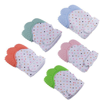 A++Baby Glove Silicone Teether Teething Wrapper Sound Teether Mitten Nursing Toy