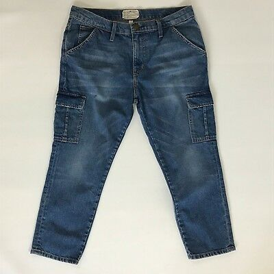 Current Elliott Blue Jeans Capri The Skinny Boy Cargo Pants Summer Sunrise Sz 27