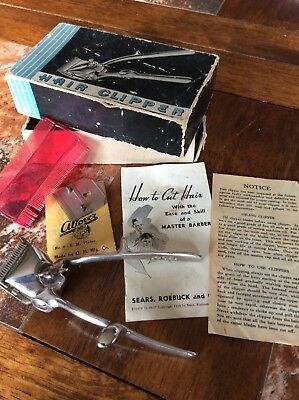 Vintage X-cell Hair Clippers Set Allover MFG Co Racine Wi Sears & Roebuck