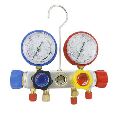 """2 Set 4 Way AC Manifold Gauge R410a R22 R134a Set 60"""" Hoses and Coupler Adapters"""