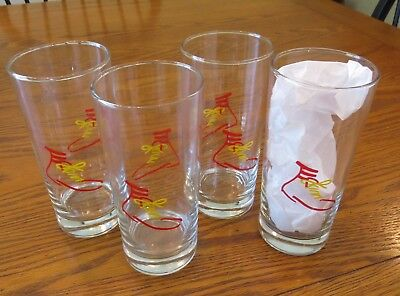 4 Vintage McDonald's GLASSES with Ronald McDonald red & yellow SHOE design Rare