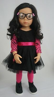"Gotz jointed 19"" doll happy kidz luisa gray eyes and black hair"
