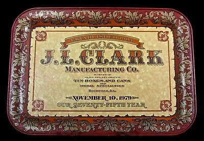 J. L. CLARK MFG. CO. 75th ANNIVERSARY TRAY, 1979. FAMOUS ADVERTISING TIN MAKERS