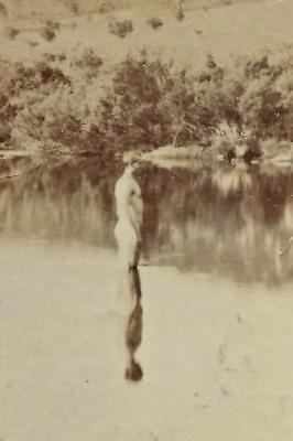 Antique STEREO PHOTOGRAPH on Mt Kosciuszko c1900's-Man in Snowy River, Jindabyne
