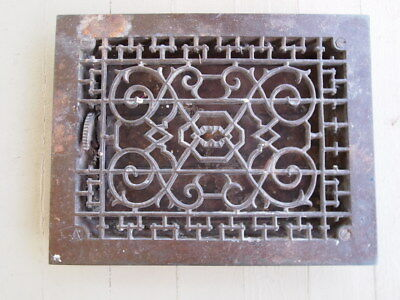 Antique Cast Iron Floor Grate Register Duct W/Louvers Architectural 9x12 Opening