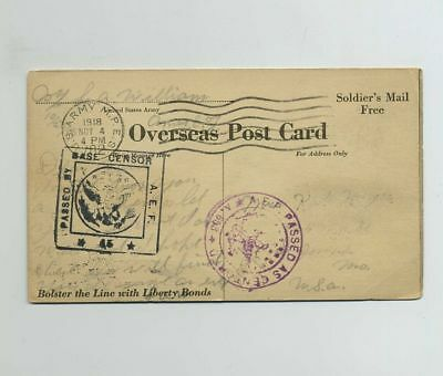 1918 WWI (World War I) Soldier's Mail Overseas Postcard Cancels Postmarks bv7963