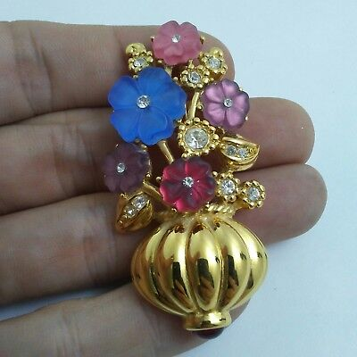 Vintage Estate Brooch Pin* Trifari Signed Rhinestone Accent Glass Flowers H3-17