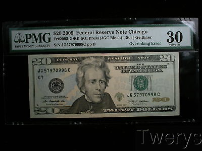 2009 Federal Reserve Note Chicago $20 Overinking Error Pmg 30 Very Fine