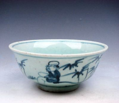 Antique MING Blue&White Ancient Figs Bamboo Hand Painted Large Bowl #11301728
