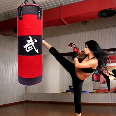 "56/"" PUNCHING BAG WITH CHAINS Sparring MMA Boxing Training Canvas Heavy Duty Red"