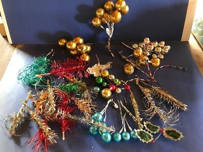 Vintage 1950's Christmas Corsage Lot, Picks, Mercury Glass Balls, Holly Leaves