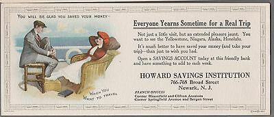1910's Traveling in Style - Savings & Loan Ad INK BLOTTER SCARCE ORIGINAL - Neat