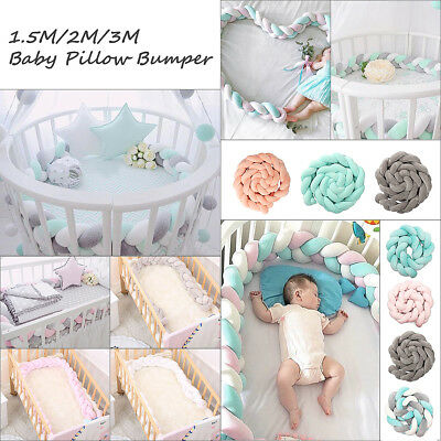 1.5/2/3M Baby Infant Plush Crib Bumper Bed Bedding Cot Braid Pillow Pad Protect