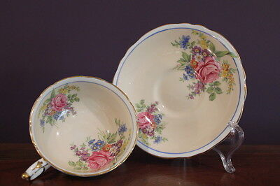 PARAGON DOUBLE STAMPED Teacup and Saucer CREAMY PEACH W/ROSE PATTERN A1096/5