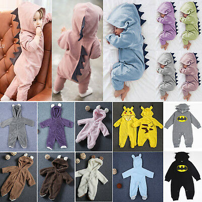 Newborn Baby Boys Girls Dinosaur Batman Cartoon Romper Jumpsuit Outfits Clothes