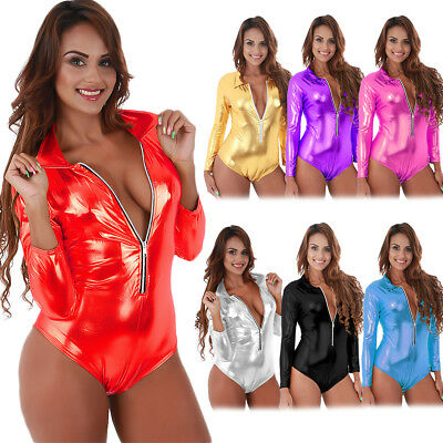 Sexy Women Metallic Shiny Wet Look Long Sleeve Bodysuit Romper Lingerie Clubwear