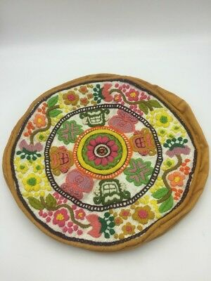 Vintage Crewel Embroidered Finished Pillow Cover Round BOHO Floral Corduroy