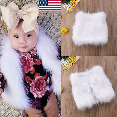 US Girl Faux Fur Vests Baby Girls Outerwear Warm Jackets Soft Vests Waist Coat