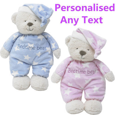 Personalised Baby Comforter Teddy Bear Engraved Bed Time Bear New Born Baby Gift