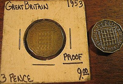 2 COIN LOT 1953 & 1958  Great Britain  3 Pence Proof ~*Coronation Issue MUST SEE