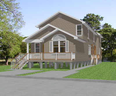 Custom Duplex House Home Plans 2-3 bed Beach House 3037 sf---PDF FULL PERMIT SET