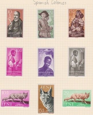SPANISH COLONIES x 9 -  MLH Stamps as shown