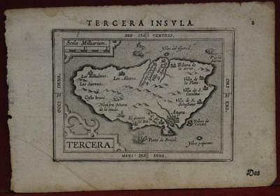 TERCEIRA AZORES PORTUGAL 1620ca ORTELIUS UNUSUAL ANTIQUE COPPER ENGRAVED MAP