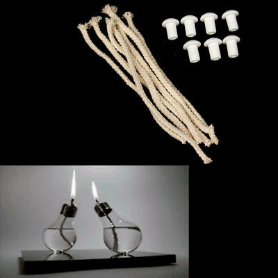 7Pcs 8Candle Wicks Cotton Core w/Holder For Oil Alcohol Lamp Torch Wine Bottle