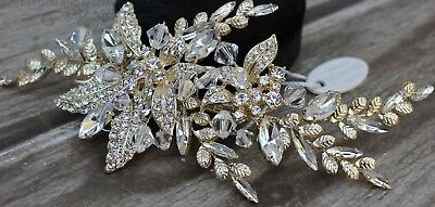 Sparkling Gorgeous Rose Gold Wedding Hair Clip Stunning Crystal Bridal Headpiece