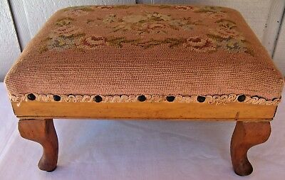"""Antique Floral Petit Point Embroidered Foot Stool w Fir & Pine Wood, 15"""" x 10.5"""""""