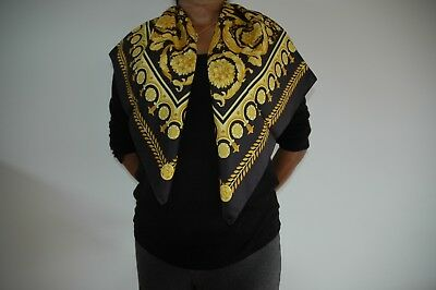Genuine Versace Ladies scarf Black and Gold Silk Made in Italy