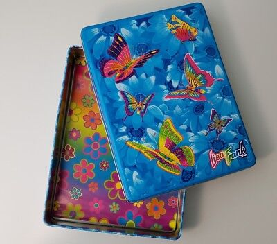 Vintage Lisa Frank Metal Daisy Butterflies Tin Box 1990 1980 Pencil Art Storage