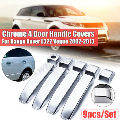 9PCS Chrome 4 Door Handle Covers Kits ABS For Range Rover L322 Vogue 2002-2013