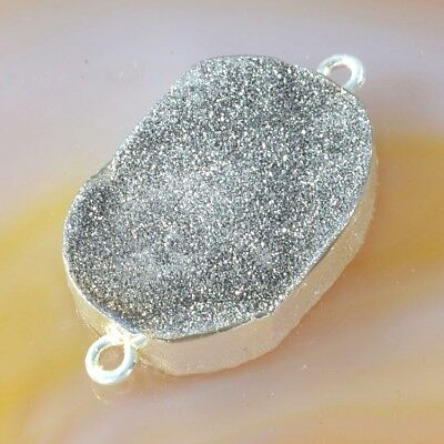 Natural Agate Titanium Druzy Connector Silver Plated T051347
